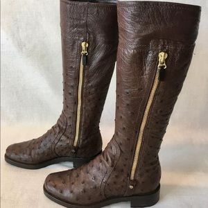 Sergio Rossi Brown Ostrich Leather Zip Boots